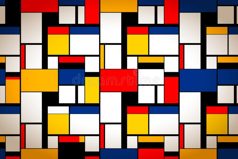 Peinture colorée lumineuse en style de Piet Mondrian, fond artistique illustration libre de droits