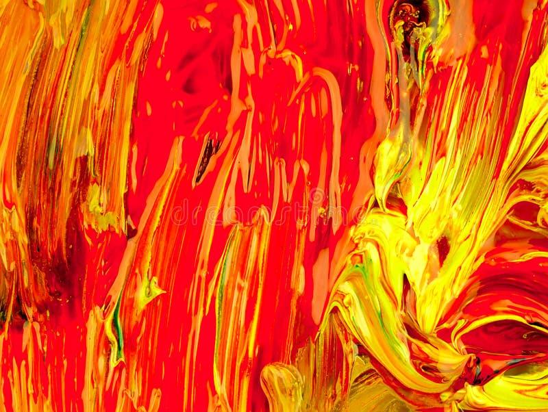 Peinture colorée mélangée sur la palette image libre de droits