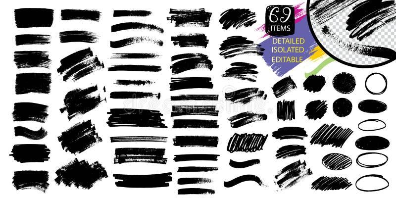 Peinture, course de brosse d'encre, ligne ou texture noire illustration libre de droits