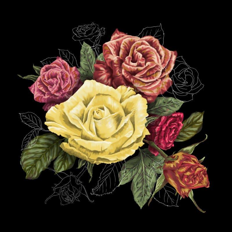 Peinture décorative de bouquet de fleurs de roses illustration libre de droits