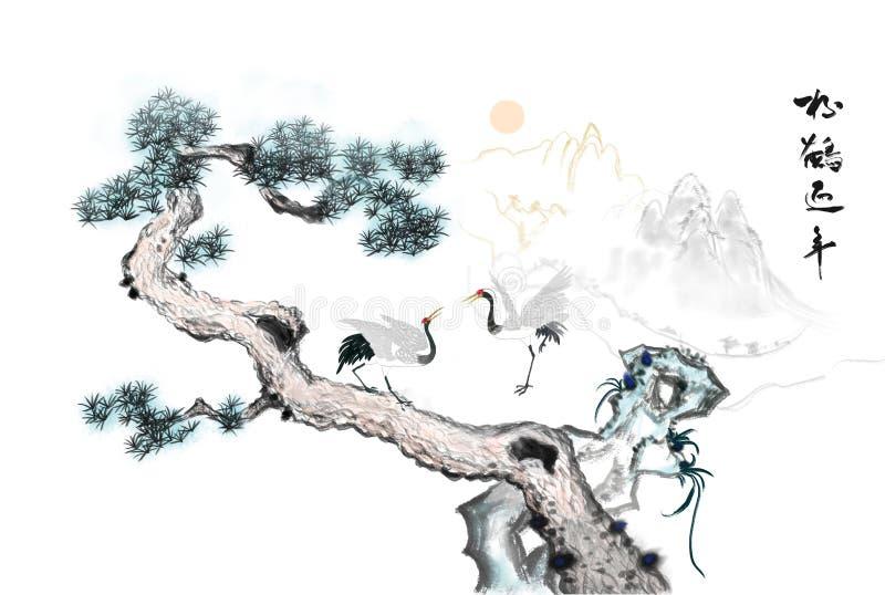 Peinture décorative de pin et de grue blanche illustration de vecteur
