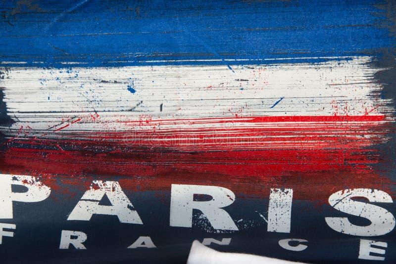 Peinture d'abrégé sur drapeau de Paris France images stock