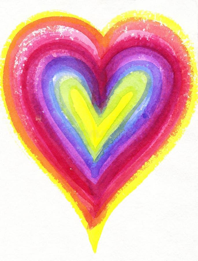 Peinture d 39 aquarelle d 39 un coeur d 39 arc en ciel illustration stock illustration du symbole - Photo d un coeur ...