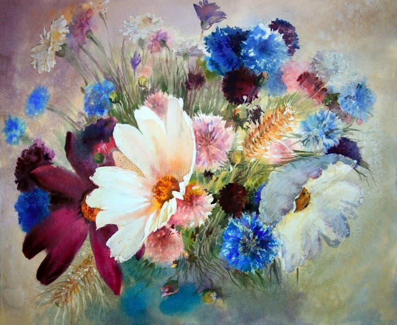 Peinture d'aquarelle de belles fleurs illustration stock