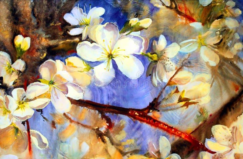 Peinture d'aquarelle de belles fleurs illustration libre de droits