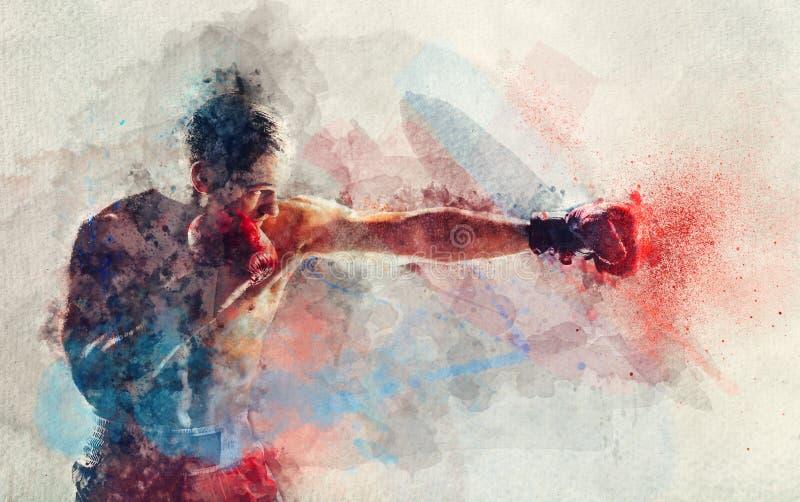 Peinture d'aquarelle de boxeur heurtant un coup illustration libre de droits