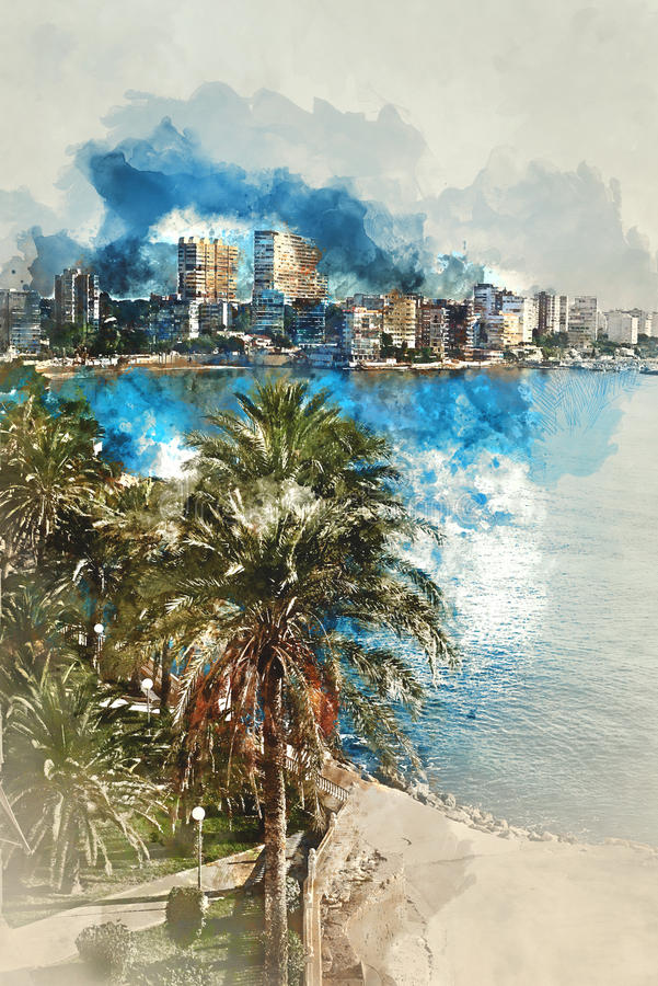 Peinture d'aquarelle de Digital d'horizon d'Albufereta illustration stock