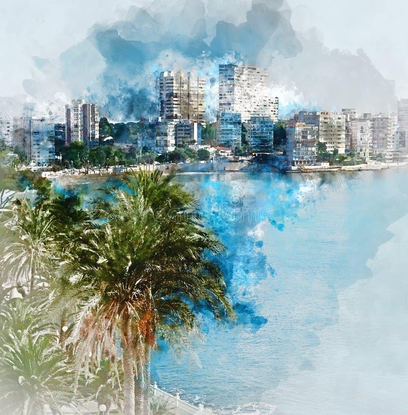 Peinture d'aquarelle de Digital d'horizon d'Albufereta illustration de vecteur