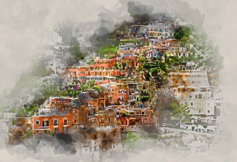 Peinture d'aquarelle de Digital de Positano l'Italie illustration stock