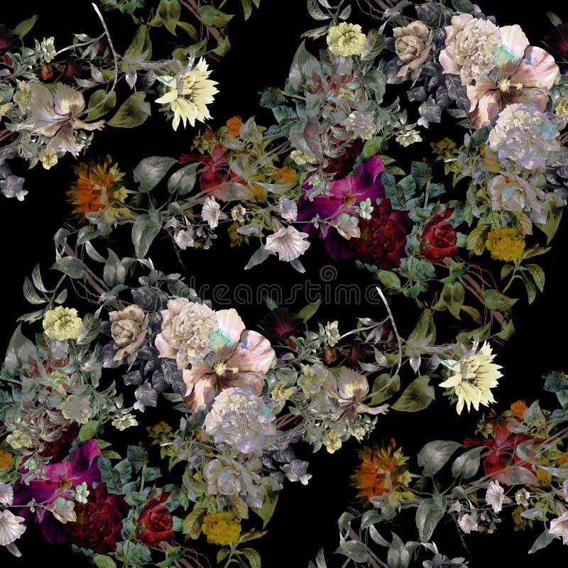Peinture d'aquarelle de feuille et de fleurs, sans couture illustration stock
