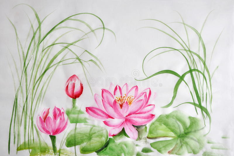Peinture d'aquarelle de fleur de Lotus illustration stock