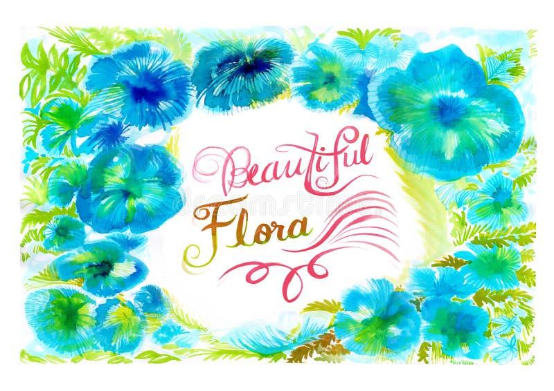Peinture d'aquarelle de flore de fond de fleur belle illustration stock