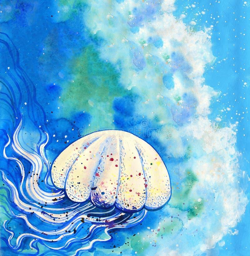 Peinture d'aquarelle de méduses illustration stock