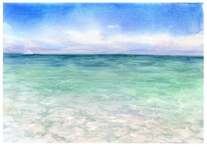 Peinture d'aquarelle de paysage marin illustration stock