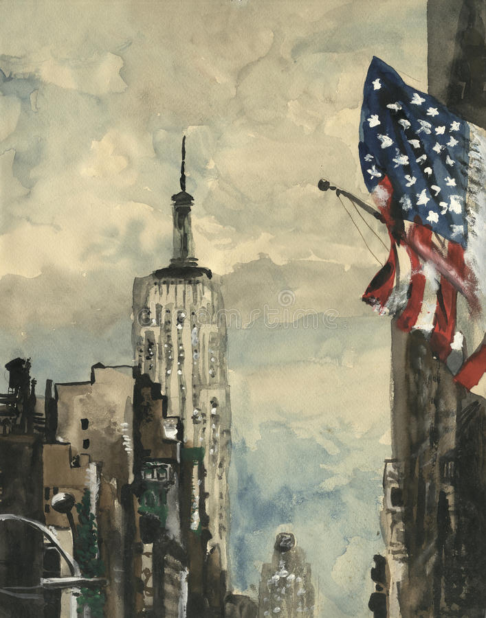 Peinture d'aquarelle de scène de New York illustration stock