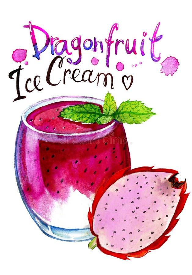 Peinture d'aquarelle de verre avec la crème glacée de dragonfruit illustration libre de droits