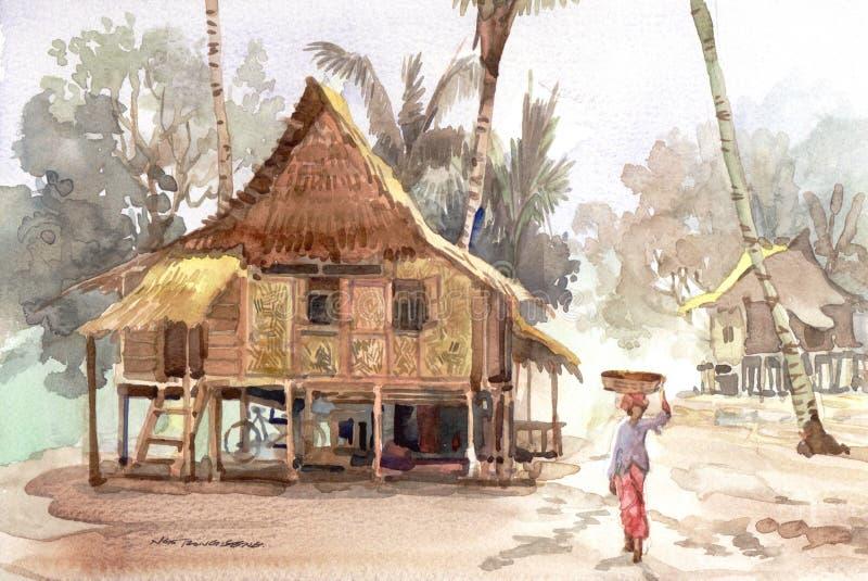 Peinture d'aquarelle de village illustration libre de droits