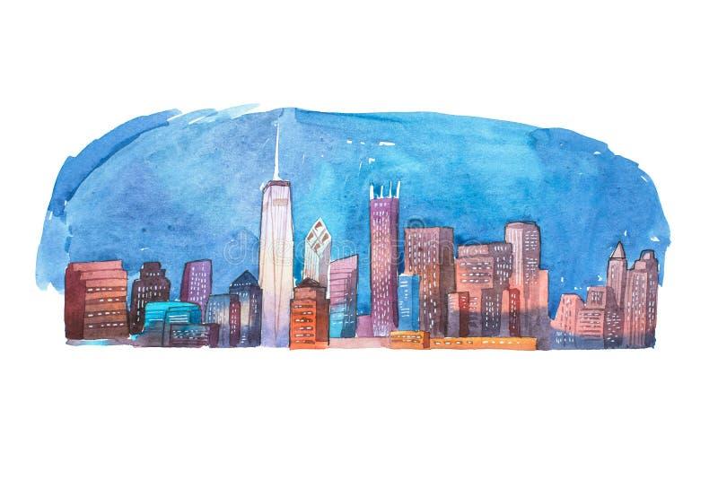 Peinture d'aquarelle de ville de nuit de paysage urbain de dessin d'aquarelle illustration de vecteur