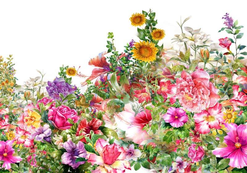 Peinture d'aquarelle des feuilles et de la fleur illustration libre de droits