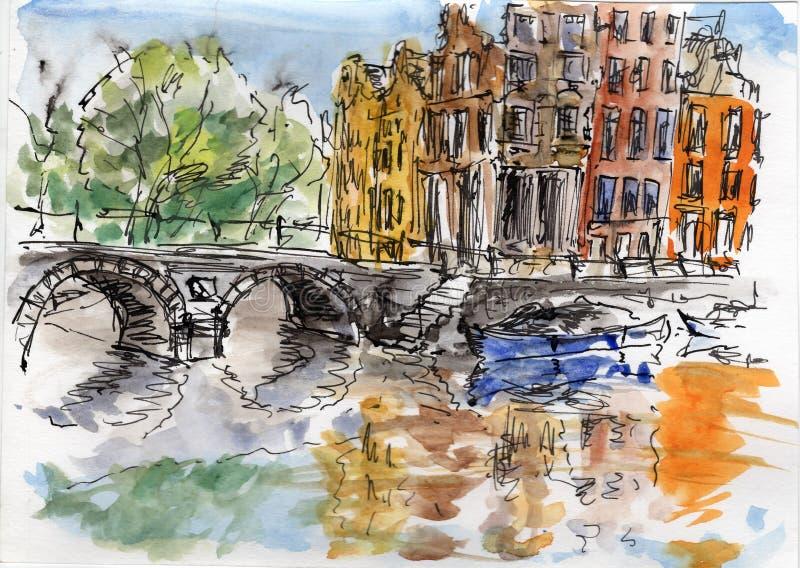 Peinture d'aquarelle et d'encre illustration libre de droits