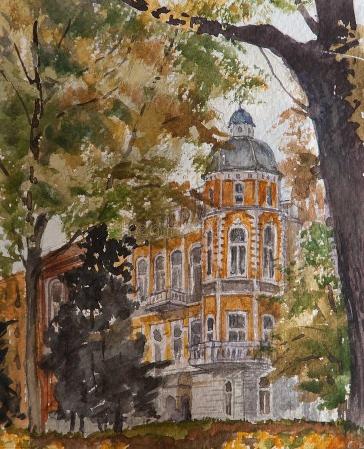 Peinture d'aquarelle sur le papier, illustration moderne, ville européenne, concept d'aquarelle Concept d'architecture illustration de vecteur