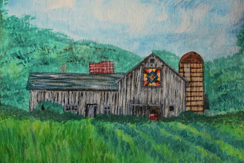 Peinture d'aquarelle d'une grange d'édredon illustration stock