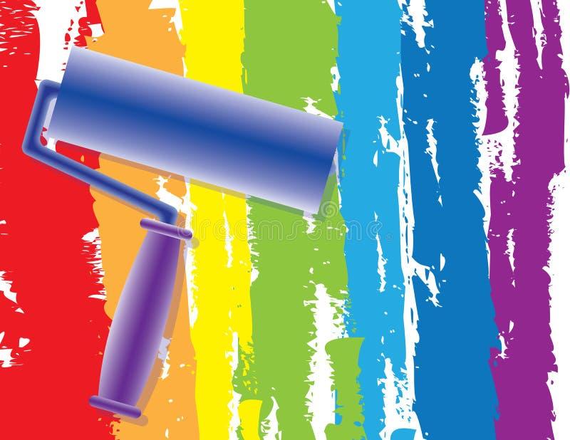 Peinture d'arc-en-ciel par le rouleau illustration stock