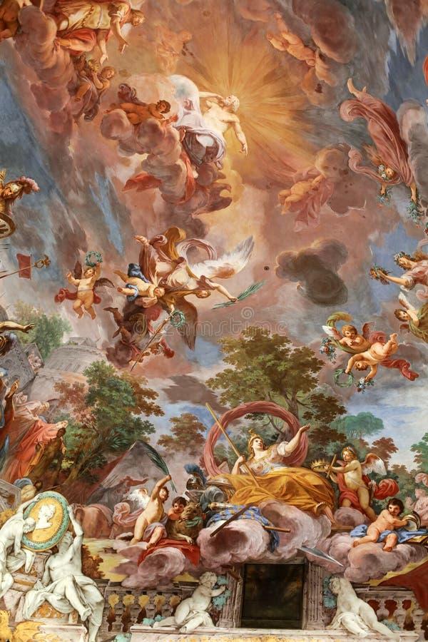 Peinture d'art de plafond dans le hall central de la villa Borghese, Rome image libre de droits