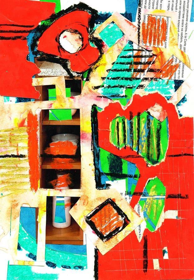 Peinture d'art et de collage et abstrait et couleur photos stock