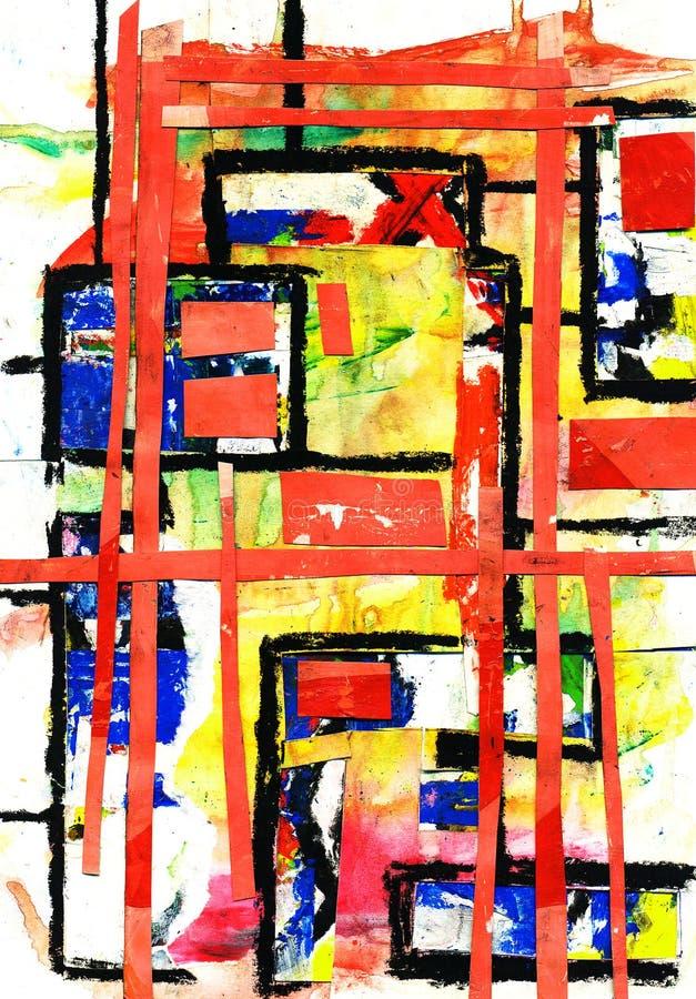 Peinture d'art et de collage et abstrait et couleur photo stock