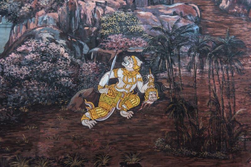 Peinture d'art sur le mur au sujet de l'histoire de ramayana photos libres de droits
