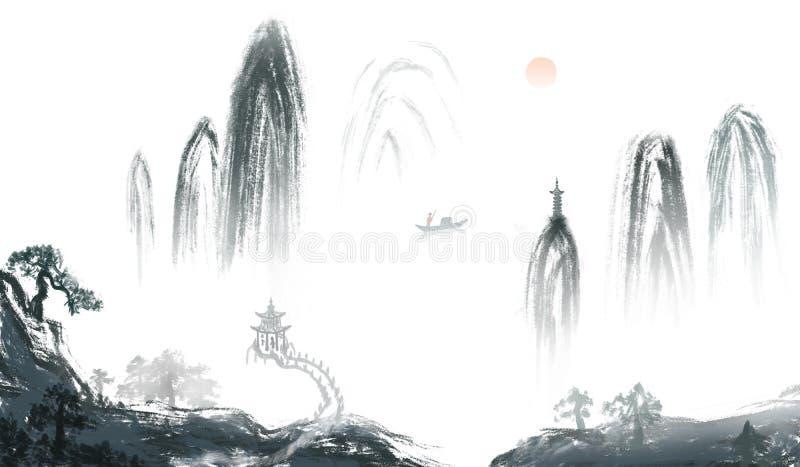 Peinture d'encre de bannière de Dongshan de lever de soleil illustration stock