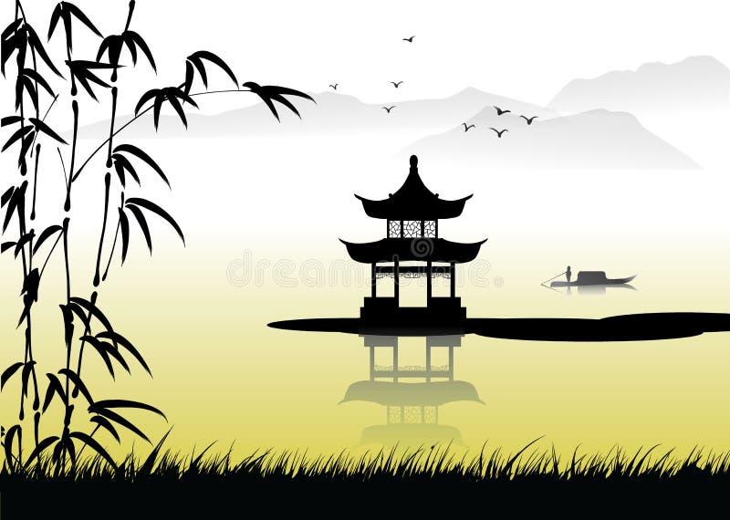 Peinture d'horizontal chinoise illustration libre de droits