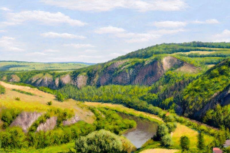Peinture d'impressionisme de falaise d'été image stock