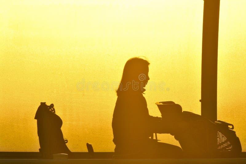 Peinture d'ombre du coucher du soleil images libres de droits