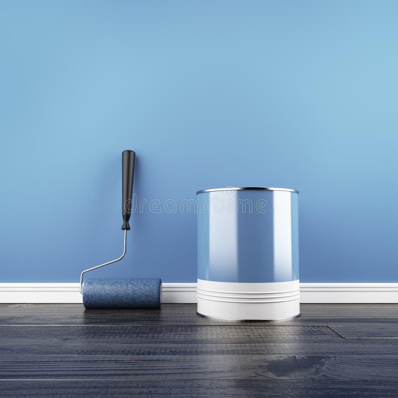 Peinture d'un mur bleu vide. illustration libre de droits