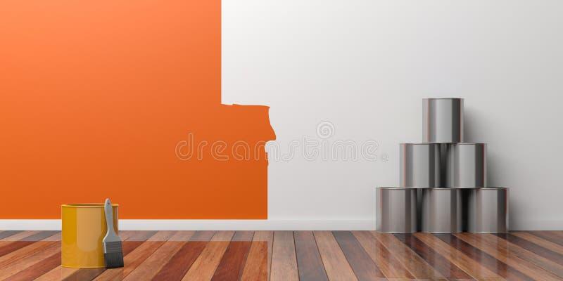 Peinture d'un mur vide Concept de rénovation illustration 3D illustration libre de droits