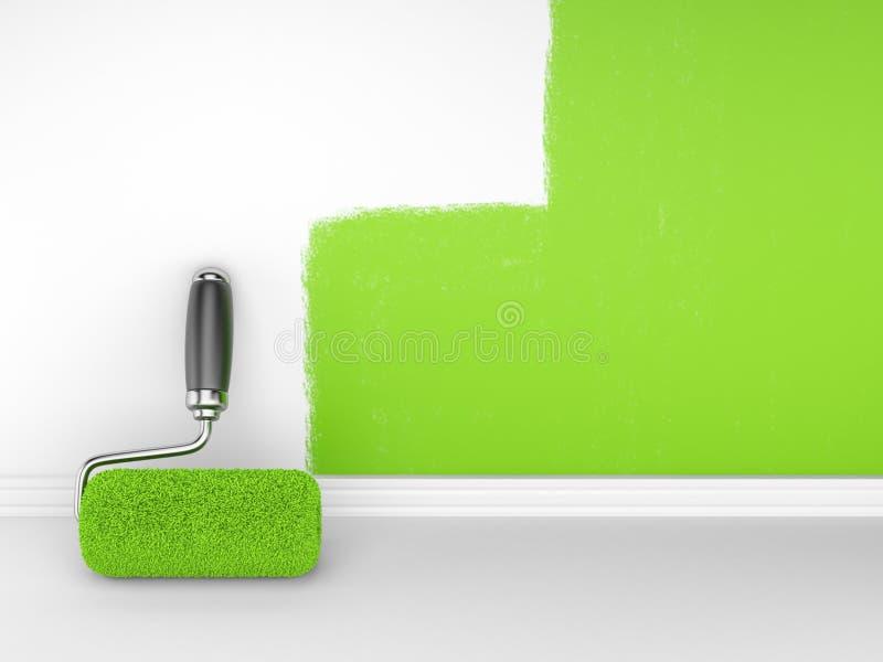 Peinture d'un mur vide. Maison de rénovation illustration de vecteur