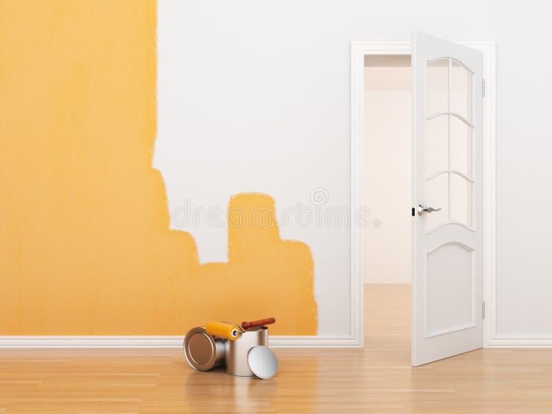 Peinture d'une salle vide. Maison de rénovation. 3D illustration libre de droits