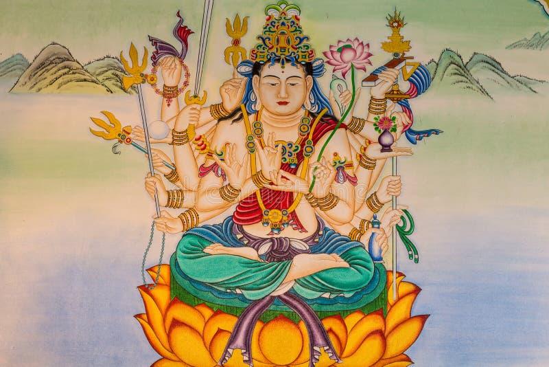 Peinture de Bouddha sur le mur photo stock