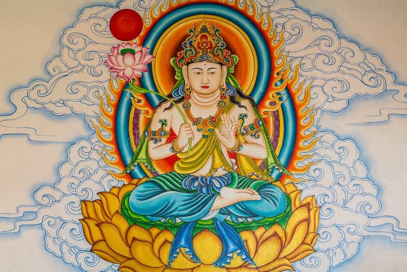 Peinture de Bouddha sur le mur photographie stock libre de droits