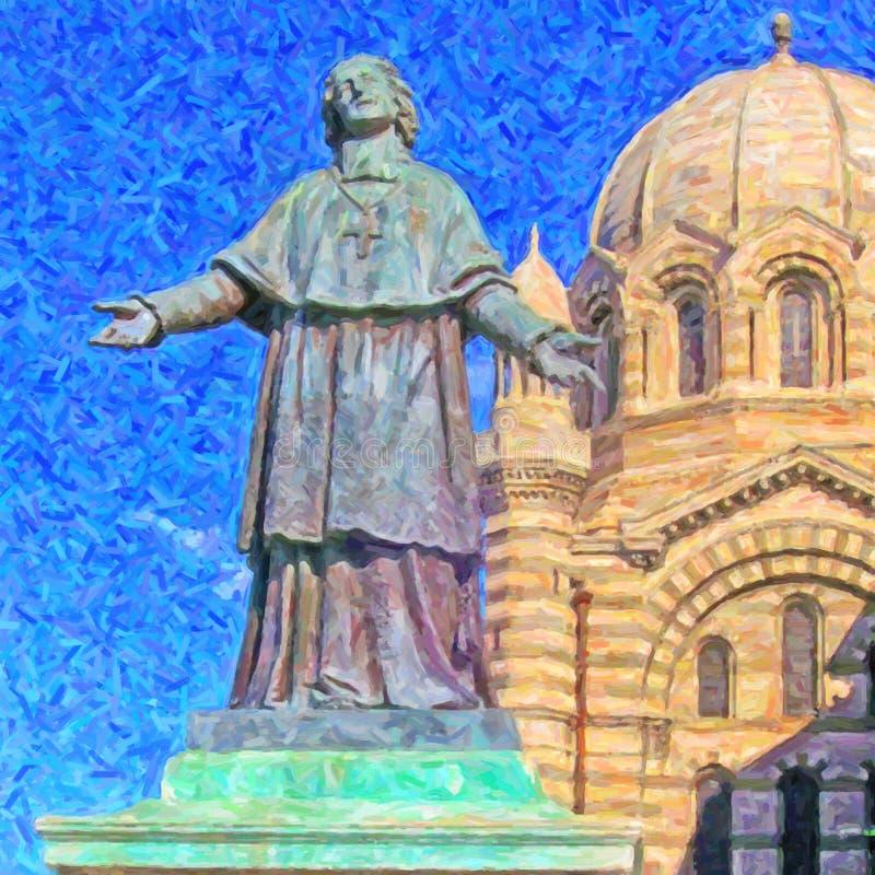 Peinture de cathédrale de Marseille illustration libre de droits