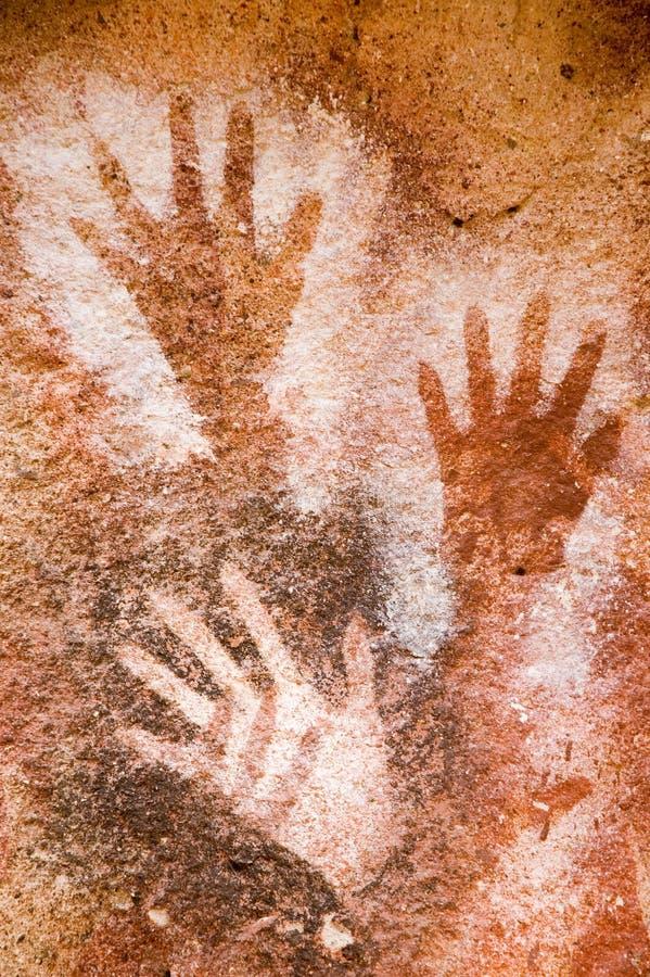 Peinture de caverne antique dans le Patagonia image libre de droits