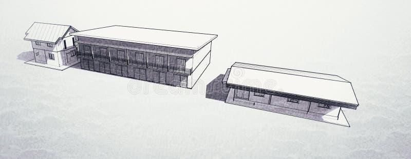 Peinture de construction dans 3D illustration libre de droits