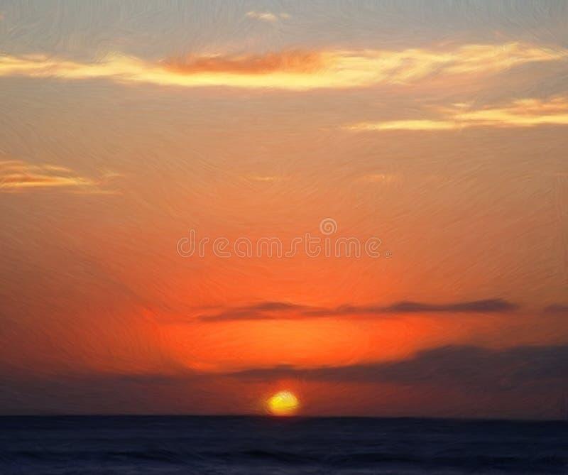 Peinture de coucher du soleil d'orange chaud photos stock