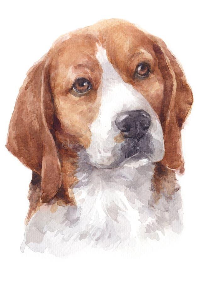 Peinture de couleur d'eau du chien 055 de briquet illustration stock
