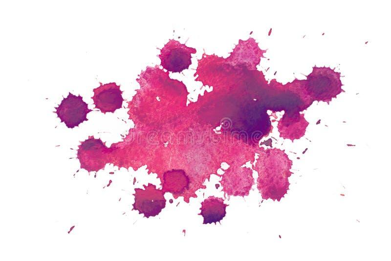 Peinture de couleur rouge d'art de formes d'aquarelle abstraite d'aquarelle ou tache colorée tirée par la main d'éclaboussure de  illustration libre de droits