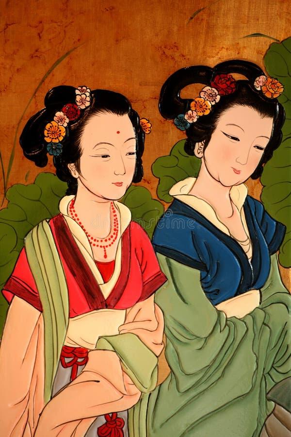 Peinture de dames de classique chinois illustration libre de droits