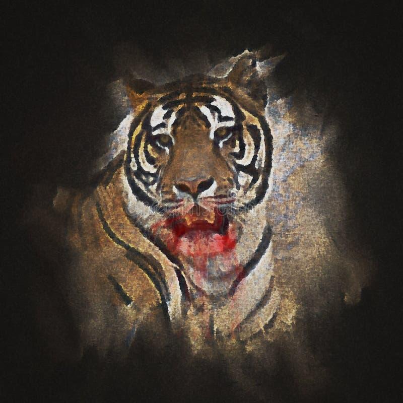 Peinture de Digital d'un grand vrai tigre sibérien illustration stock