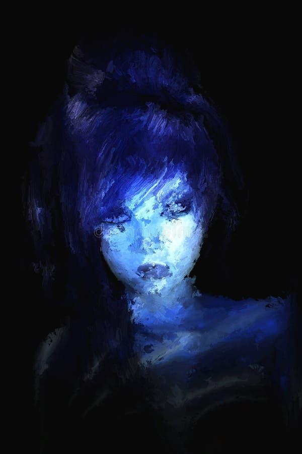 Peinture de Digital d'un portrait gothique de femme illustration stock